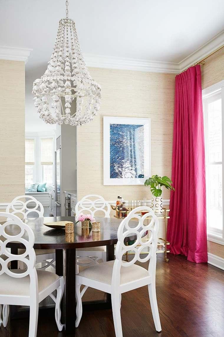 decorar comedores modernos cortinas color rosa vibrante ideas