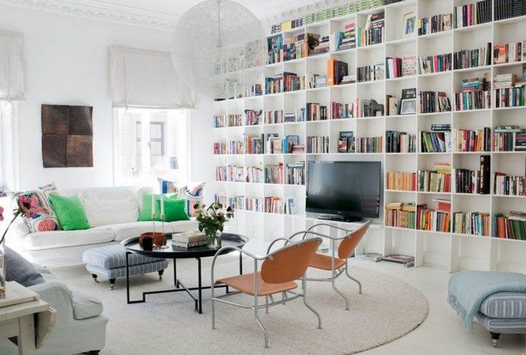 diseño biblioteca salon blanca moderna