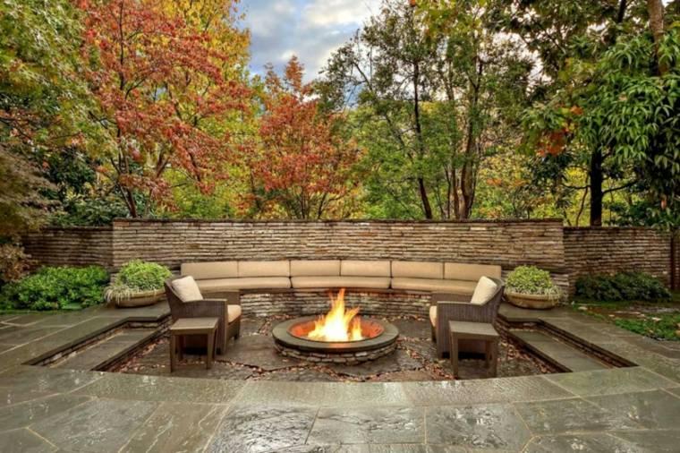 diseños pozos fuego jardines