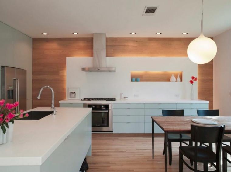 Revestimiento de paredes interiores con madera 34 ideas for Cocinas diseno 2016