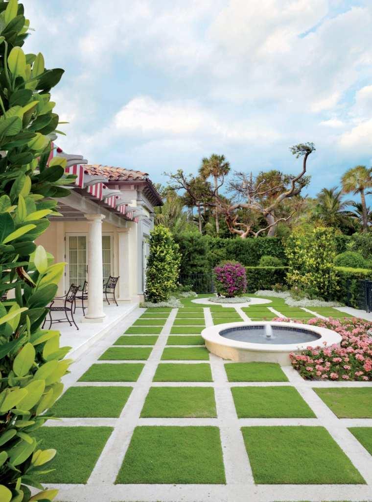 diseno tradicional romantico jardin fuente ideas