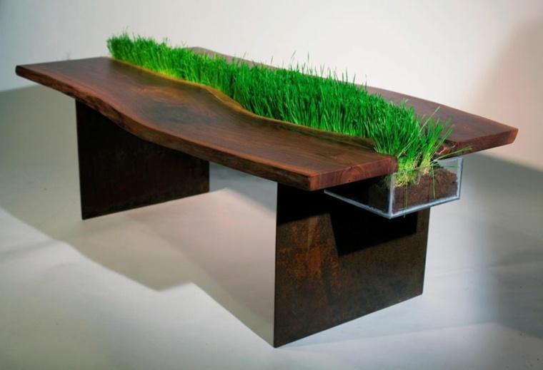 disenos de muebles de sala mesa madera cesped medio ideas