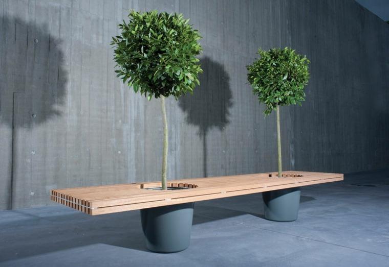 disenos de muebles macetas banco madera arboles ideas
