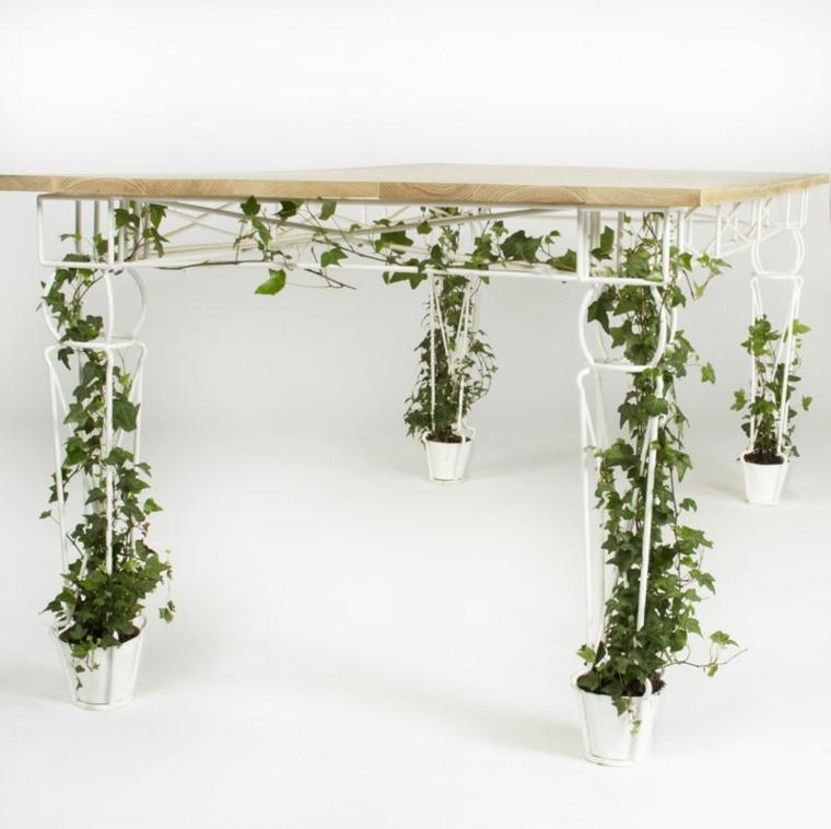 disenos de muebles mesa comedor macetsas plantas trepadoras ideas