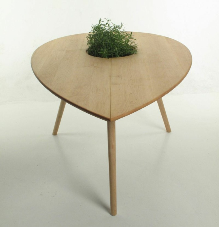 disenos de muebles mesa madera alta maceta ideas