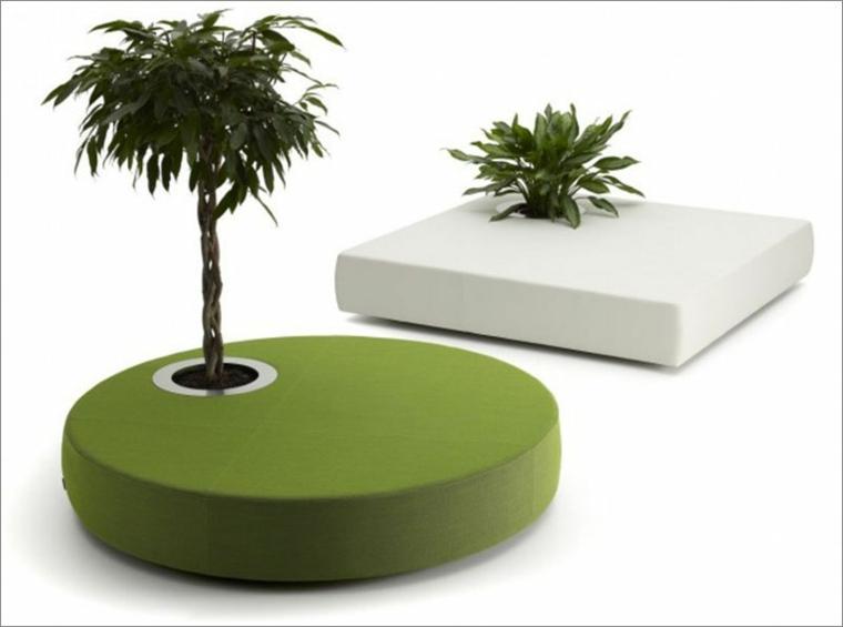 disenos de muebles taburete verde blanco maceta ideas