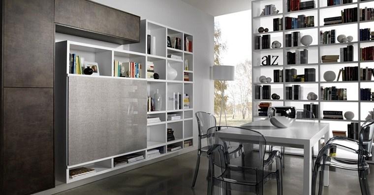 dispositivos almacenamiento estanteria comedor mesa moderna ideas