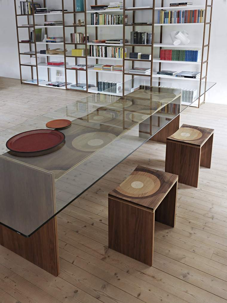dispositivos de almacenamiento estanteria libros comedor mesa cristal ideas