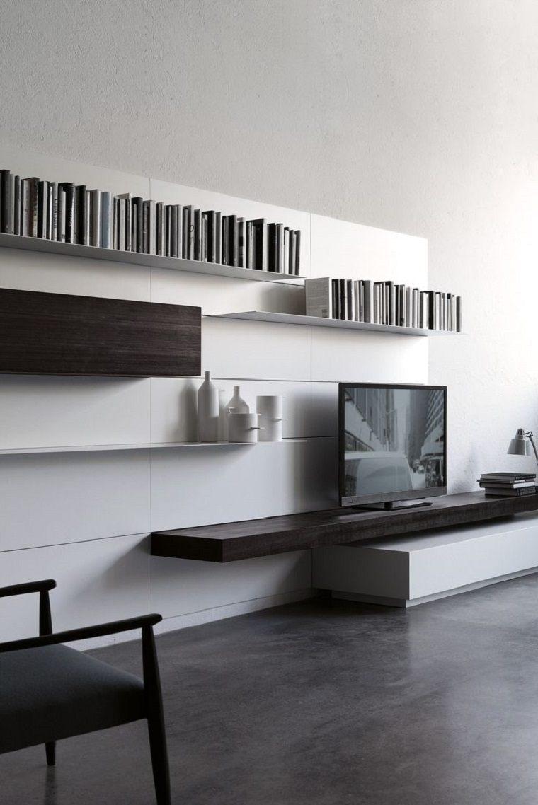 dispositivos de almacenamiento estanteria libros televisor ideas