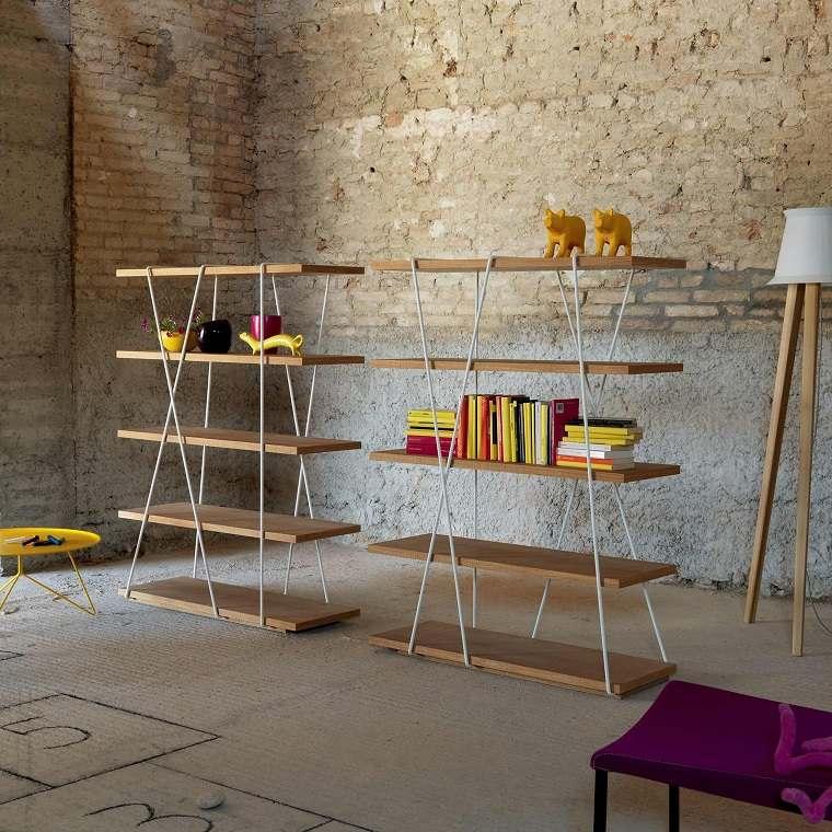 dispositivos de almacenamiento estanteria madera moderna ideas