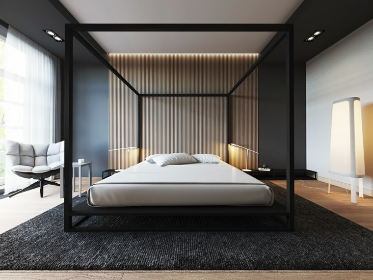 dormitorio iluminacion cama dosel grande ideas
