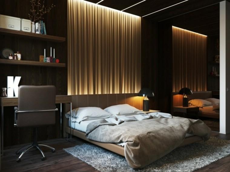 dormitorio iluminacion cortinas espejo grande ideas