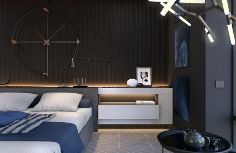 dormitorio iluminacion mesita noche madera blanca ideas