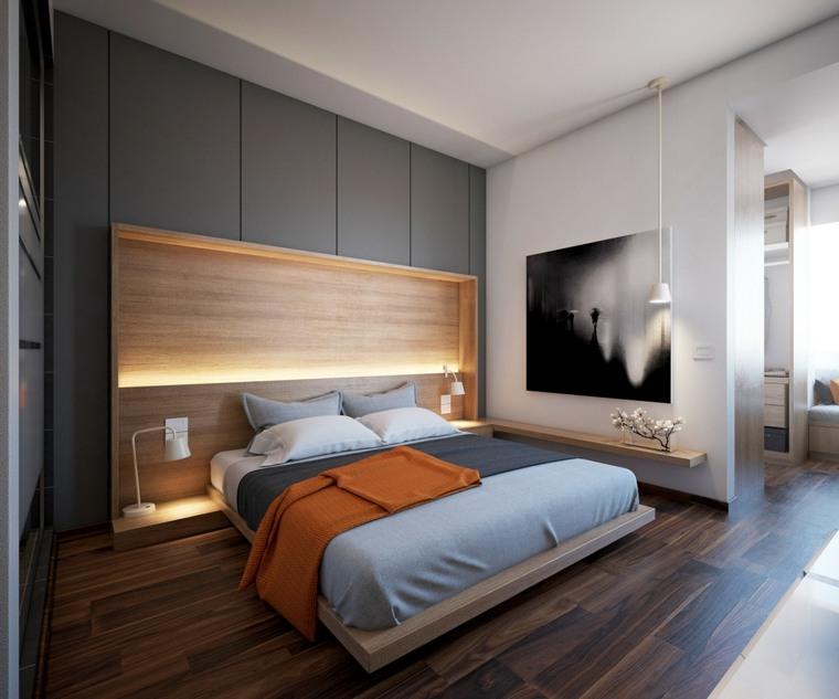 dormitorios originales iluminacion cuadro grande pared ideas