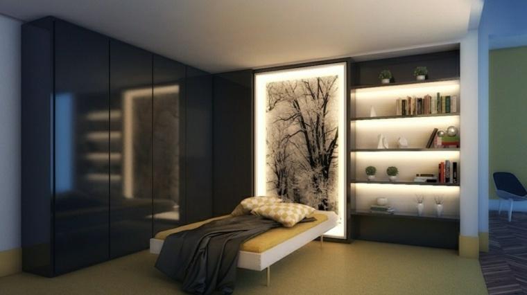 dormitorios originales iluminacion estantes decoraciones luz ideas