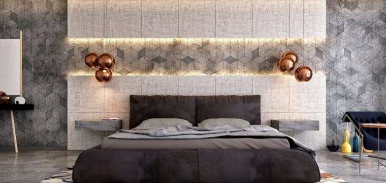 dormitorios originales iluminacion lamparas color oro ideas