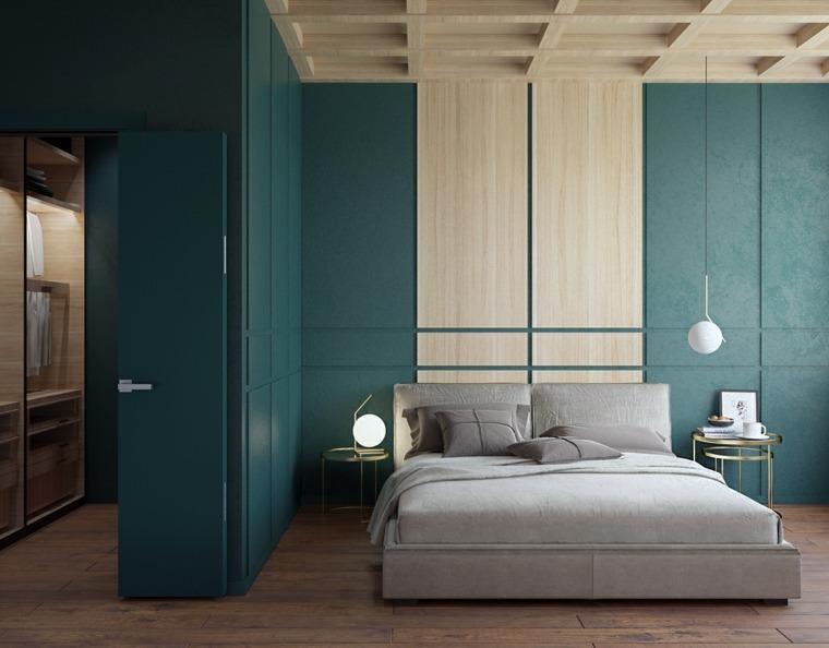 dormitorios originales iluminacion paredes verdes ideas
