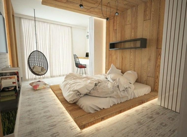 dormitorios originales iluminacion suelo madera iluminacion ideas