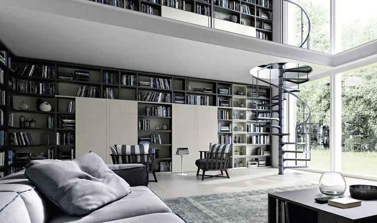 estupenda biblioteca salon moderno gris