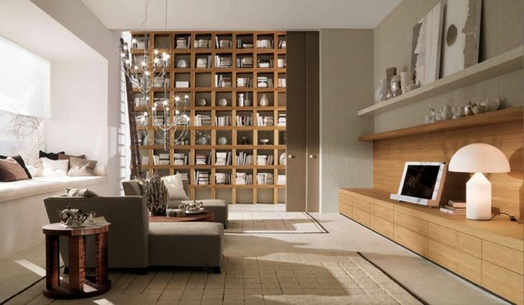 estupendo diseno biblioteca salon madera