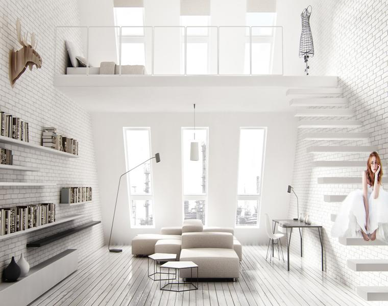 estupendo salón blanco moderno