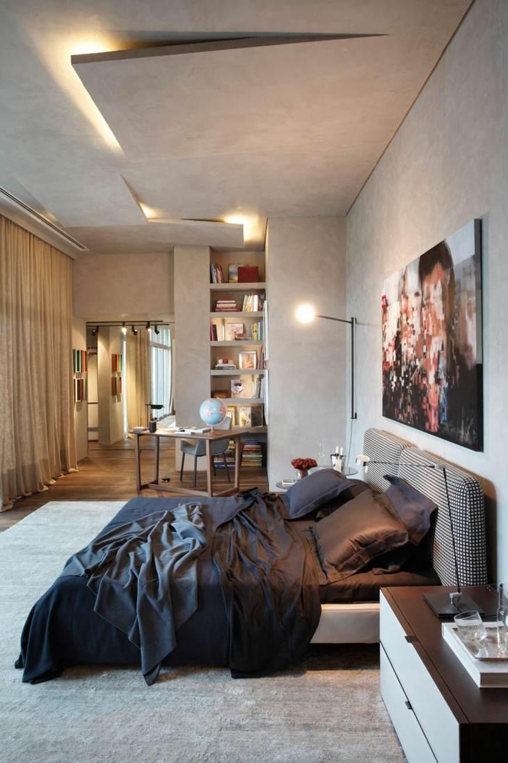 falso techo diseño habitaciones cortinas aspetos