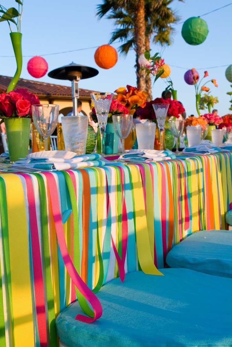 fiestas al aire libre telas colores mesa ideas