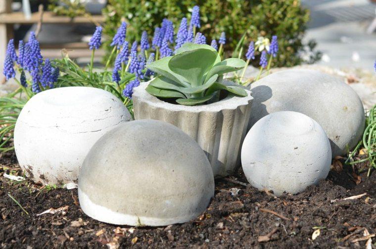 figuras cemento bolas decorativas