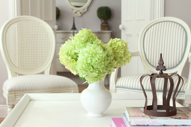 flores de primavera hortensias decorar casa salon blanco ideas