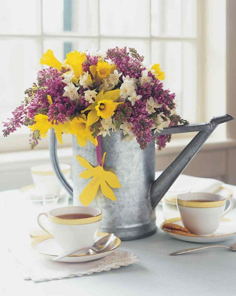 flores primavera decorar casa ramo flores regadera ideas