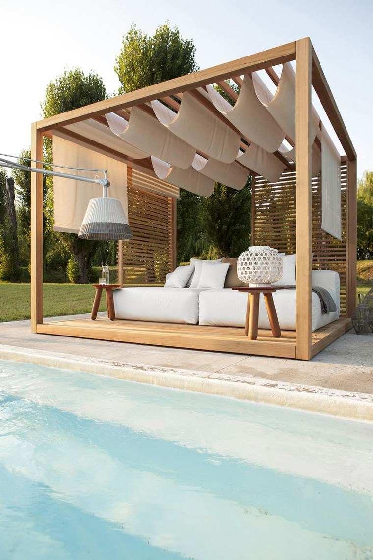 fotos de piscinas muebles jardin gazebo madera precioso ideas