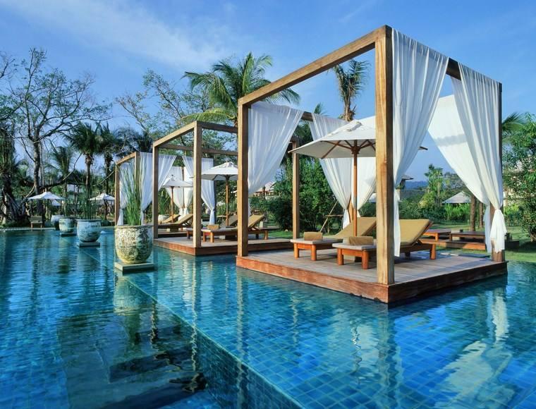 fotos de piscinas muebles jardin gazebos madera agua ideas