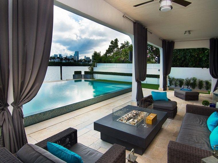 fotos de piscinas muebles jardin mesa preciosa fuego muebles mimbre ideas