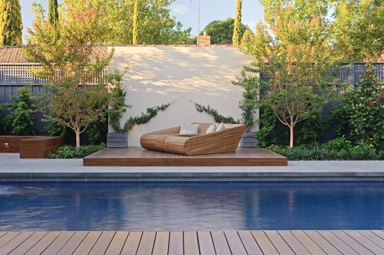 fotos piscinas muebles jardin comodos arboles plantas ideas