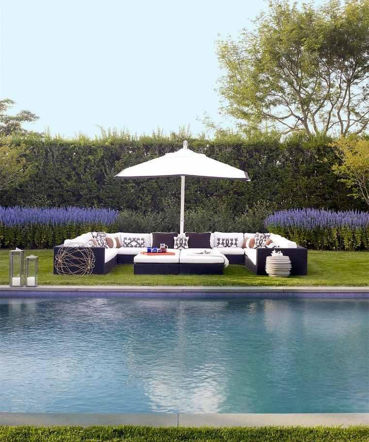 fotos piscinas muebles jardin flores lavanda ideas
