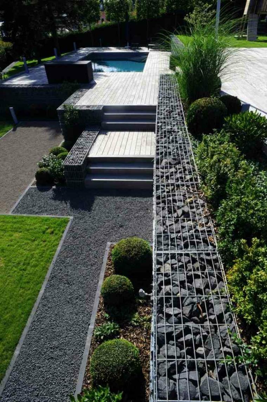 gavion piedras color gris patio