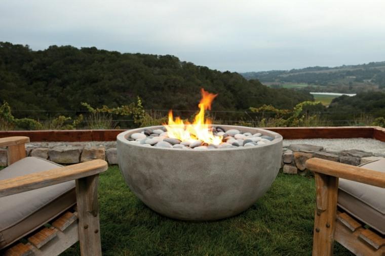 gran cuenco piedra plato fuego