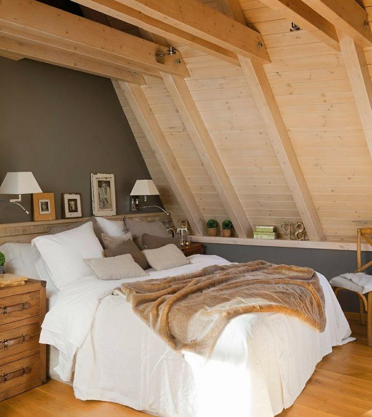 habitacion buhardilla paredes madera