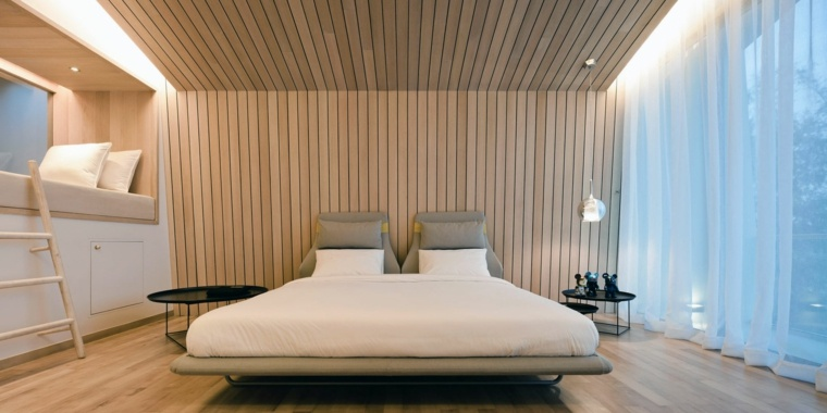 habitacion moderna pared cabecero madera