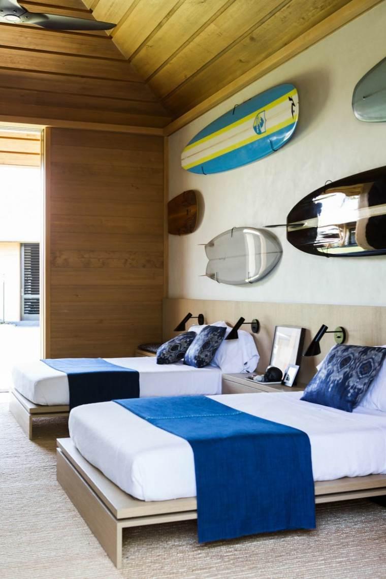 habitacion moderno diseño pared madera