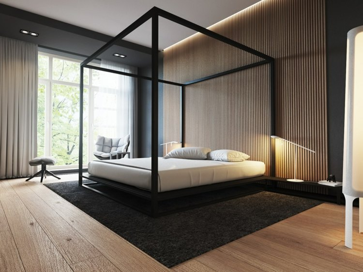ideas decoracion habitacion listones maderas metales