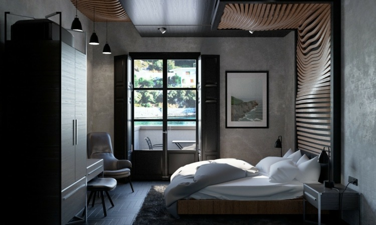 ideas decoracion habitacion muebles negros listones