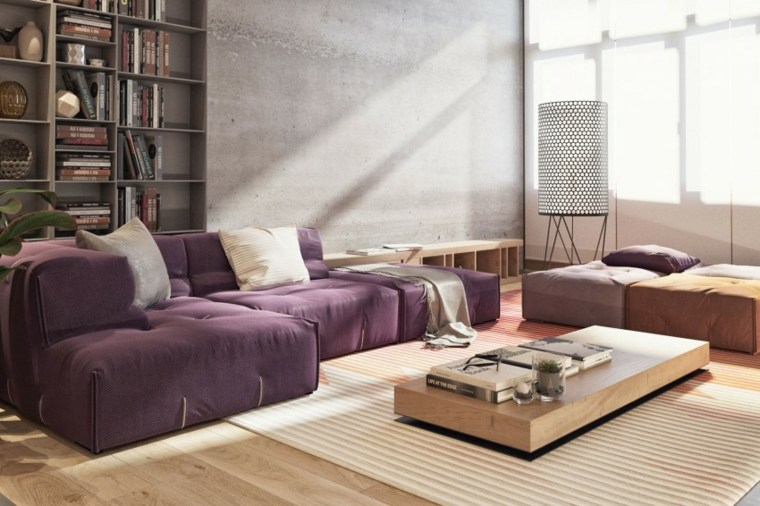ideas decoracion salon mesa madera sofa purpura ideas