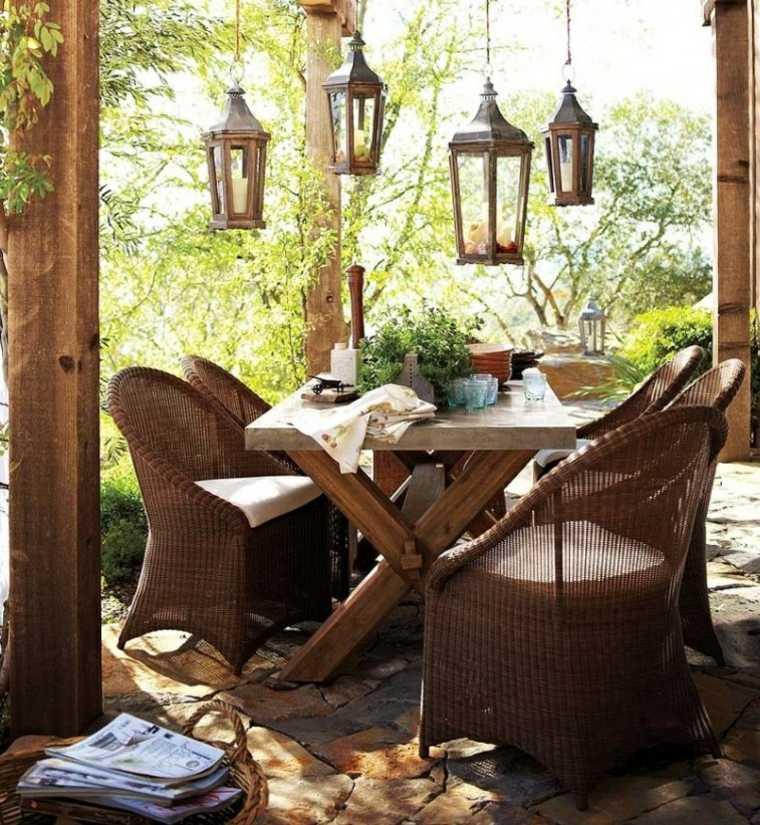 iluminar jardin moderno farolas colgando comedor jardin ideas