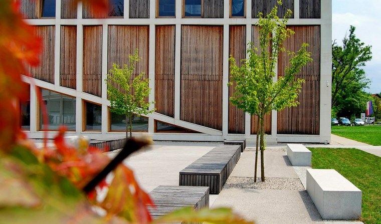 casa jardín diseno contemporaneo bancos hormigon ideas