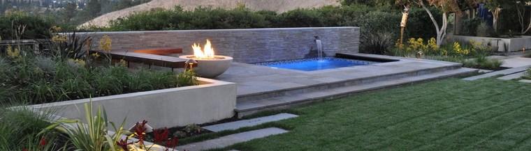 jardin diseno contemporaneo estanque pozo fuego ideas