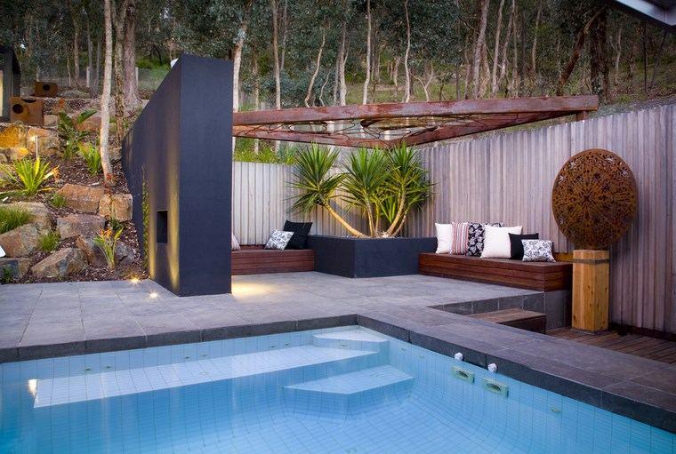 jardin diseno contemporaneo jardinera negra piscina ideas