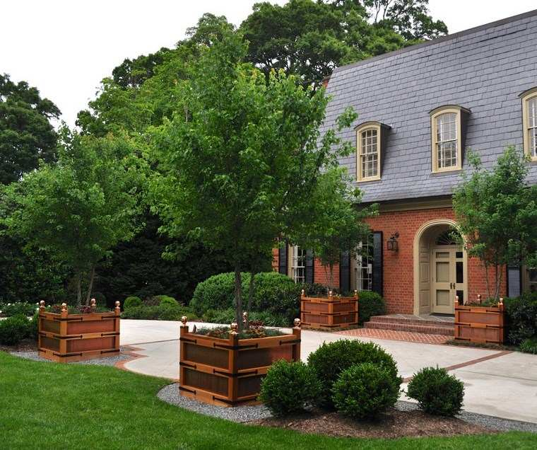 jardin diseno contemporaneo jardineras madera arboles ideas