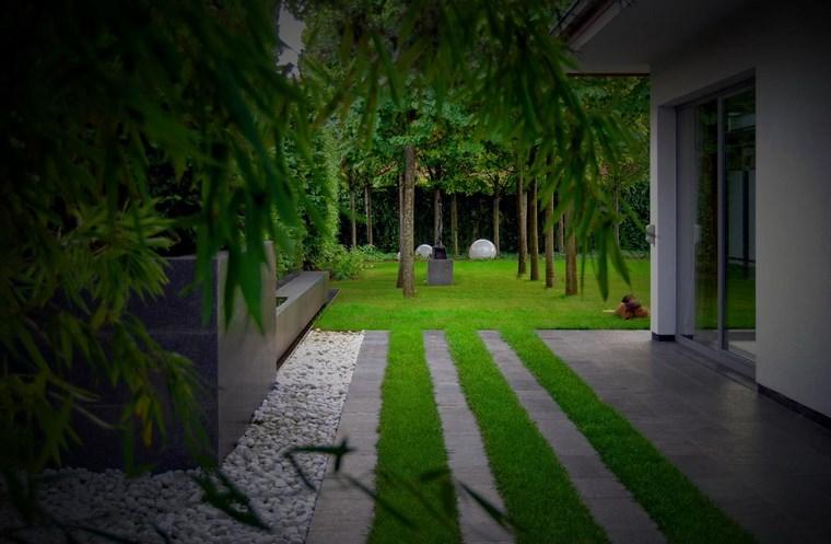 jardin diseno contemporaneo losas partes cesped ideas