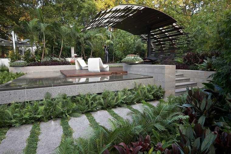 jardin diseno contemporaneo losas pergola moderna ideas